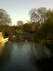 On a bridge over the river Cam